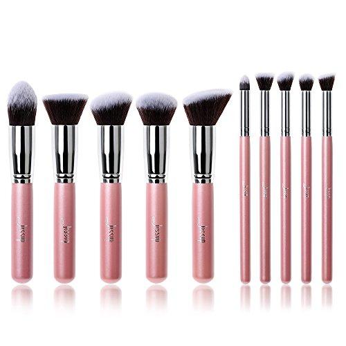 Jessup Marque Cosmétique Kabuki Ensemble 10 pcs Brosse de Maquillage outils kit Eyeliner Estompeur yeux visage Fond de teint Brosse à cheveux faite à la main rose/argenté T068