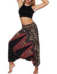 Pantalones de Yoga Sueltos de Verano para Mujer,Pantalones Holgados Boho de Aladdin Harem Mujer Pantalones Harem Boho de Cintura alforzada del Flaral Espiral para Fitness Belly Dance