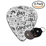 Video Games Black And White Sketch Style Gaming Design Racing Monitor Device Gadget Teen 90s Colorful Celluloid Guitar Picks Plectrums For Guitar Bass .6 Pack 71mm