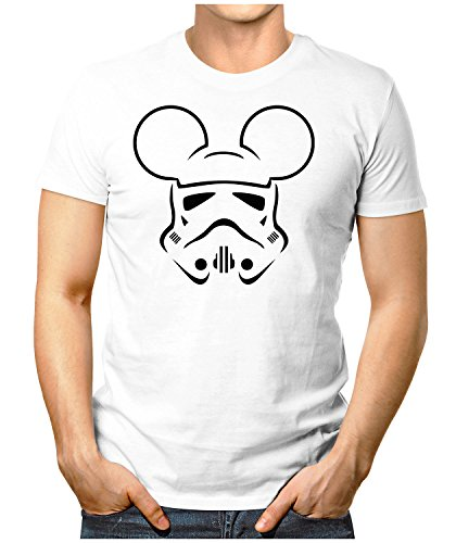 PRILANO Herren Fun T-Shirt - TROOPER-MOUSE-BLACK - Small bis 5XL - NEU Weiß