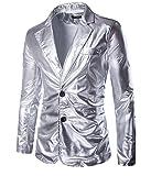 Choose Men's Metallic Schlank Fit Beiläufig Zwei Knopf Blazer Jacke