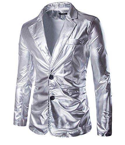 Choose Men's Metallic Schlank Fit Beiläufig Zwei Knopf Blazer Jacke (Ein-knopf-blazer-jacke)
