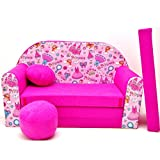 Kindersofa Kinder Sofa Couch Baby Schlafsofa Kinderzimmer Bett gemütlich verschidene Farben und motiven (H35 rosa Princess)