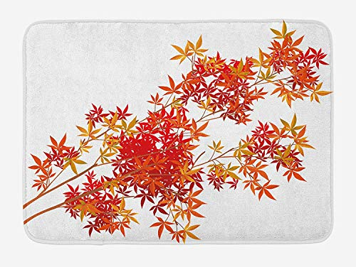 Nature Bath Mat, Autumn Tree Branches Shaded Faded Tones Fall Season Botany Leaves Print, Plush Bathroom Decor Mat with Non Slip Backing, 23.6 W X 15.7 W Inches, Orange Scarlet Ginger (Rv-monster-truck)