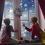 LUTER Vetrofanie Natale Fiocchi Neve Adesivi Addobbi Natalizi Stickers Vetro Decorazione Invernali per Finestre Casa, caffè, Ristorante(102 Pezzi)