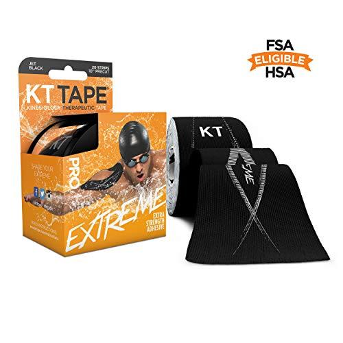 KT Tape Pro 20 Strip vorgeschnittene Synthetik-Kinesiologie-Tape, Schwarz