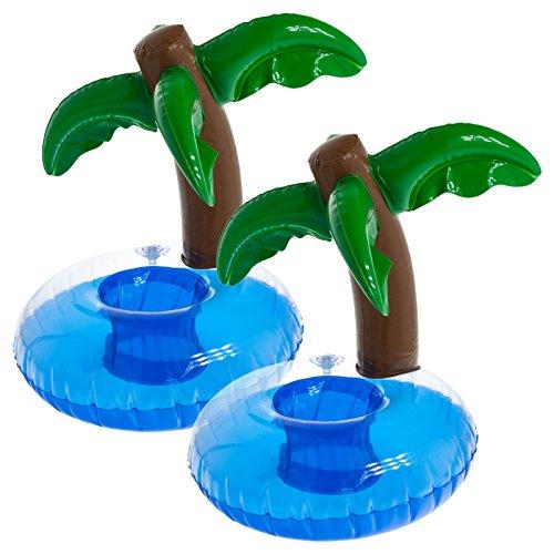 Smartfox 2X Aufblasbare Getränkehalter Flaschenhalter Dosenhalter Palmeninsel für Pool See Meer - 20 x 10cm