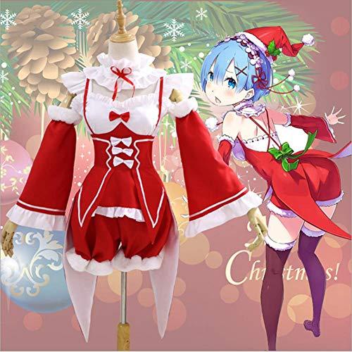 GGOODD Re:Zero Ramrem/Ram Cosplay Damen Lolita Maid Kostüm Outfit Fasching Kleid Gesetzt Weihnachten Rotes Kleid,Rot,XXXL