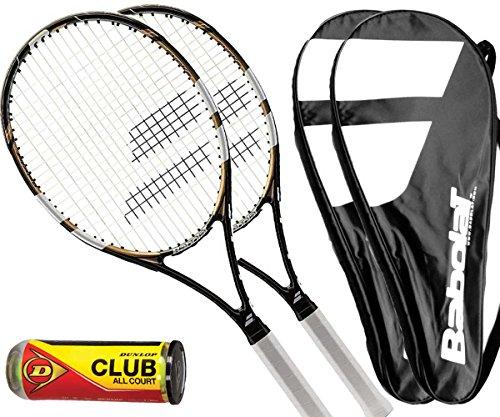 Babolat 2 x Evoke 102 Tennisschläger L3 + 2 Cover + 3 Bälle (L3)