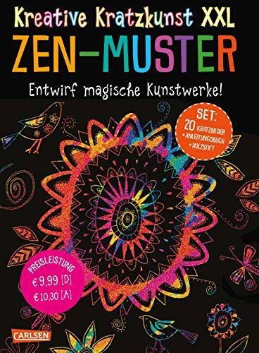 Kreative Kratzkunst XXL: ZEN-Muster: Set mit 20 Kratztafeln, Mappe, Anleitungsbuch und Holzstift (Zen-kunst-set)