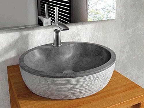 Bathco – Lavabo Bathco Sobre Encimera Piedra Santorini 45 Negro 450X400X120
