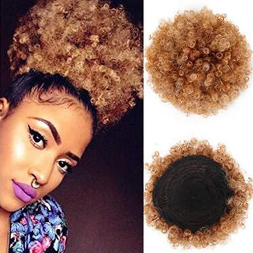 Afro Puff Perücke Haartasche, Chemische Faser Bunch Meatball Head, flauschige Haargummi Haarteil kurzes verworrenes lockiges ()