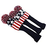 mamimamih Classic Star Knit Pom Golf Club Vintage Schlägerhaube Head Cover 3/Set (rot & weiß)