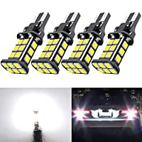 921 LED Bulb Upgrade Extremely Bright T15 912 W16W LED Bulbs 3030 Chipsets 24-SMD CANBUS LED Lamps Used for Backup Reverse Lights, 6000K Xenon White(4pcs/Pack)