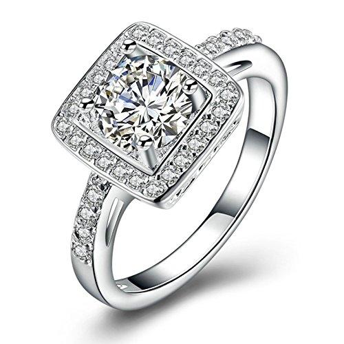 AMDXD Modeschmuck Versilbert Damen Ring Quadrat Runde Weiß Zirkonia Silber Ring Damen 57 (18.1) (Weißes Quadrat Bin)
