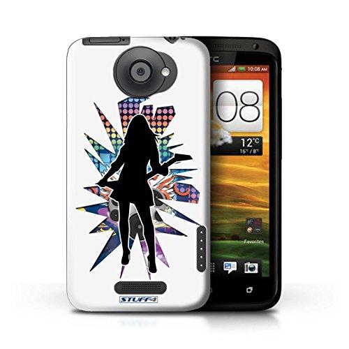 Kobalt® Imprimé Etui / Coque pour HTC One X / Rock n Roll Noir conception / Série Rock Star Pose Rock Dame Blanc