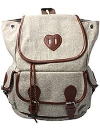 Accessoryo - lona beige y mochila de cuero con adornos de imitación