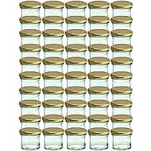 Set da 50 vasetti in vetro, per marmellate e conserve, 125 ml, coperchio avvitabile dorato, 66 mm
