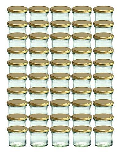 50er Set Sturzglas 125 ml Marmeladenglas Einmachglas Einweckglas To 66 gold farbiger Deckel