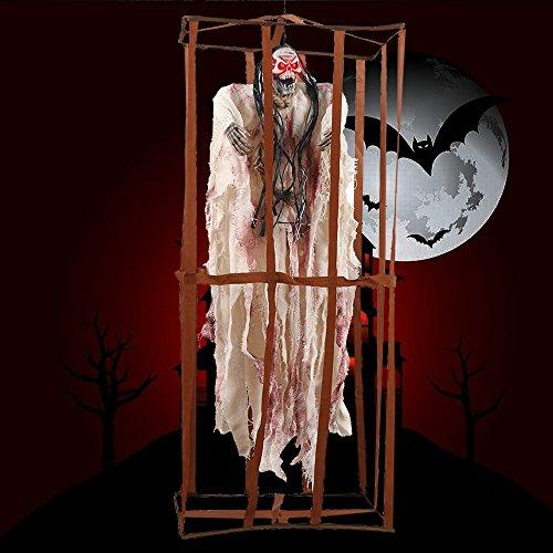 ZhongYeYuanDianZiKeJi Halloween Decoracion Terror Jaula de Halloween Prop Prisioneros Fantasmas Colgante Adornos prisión (Blanco)