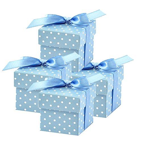 50 Stück Süße Geschenkboxen (blau) Gastgeschenk für Hochzeit Babyparty Taufe Geburt