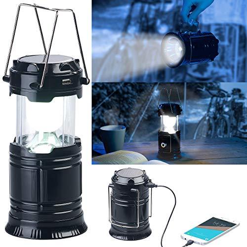 Semptec Urban Survival Technology Campinglampe Solar: 3in1-Solar-LED-Camping-Laterne, Handlampe & USB-Notlader; 80 Lumen (Zeltlampe Solar)