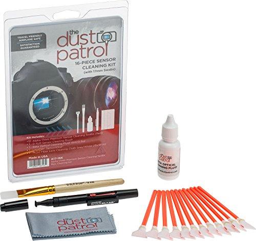 The Dust Patrol Alpha 17mm Premium Sensorreinigungs-Swabs 16-teiliges Kit (Rot) mit Beta optischer Reinigungsflüssigkeit 14ml. Für Kameras mit APS-C Sensoren - die gängigste Größe Rot 16-teilig