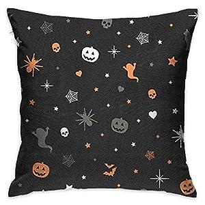 FPDecor Dekorativ Kissenbezug, Throw Pillow Cover Vintage Happy Halloween Stars Pumpkins Decorative Pillow Case Decor Square 18x18 Inch Cushion Pillowcase