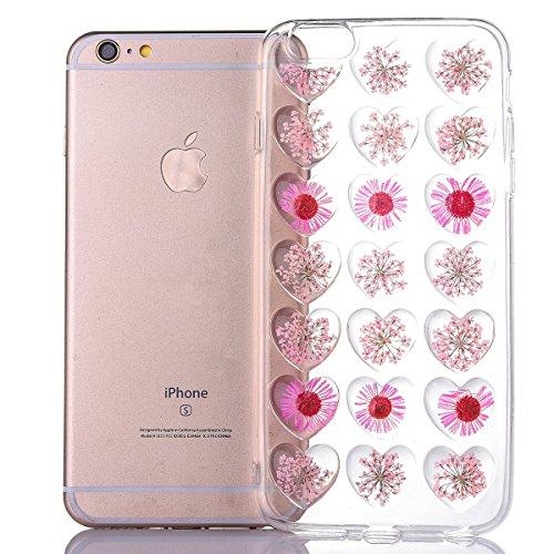 iPhone 6s Schutzhülle, Elegante Pinke Blumen-Serie CLTPY iPhone 6 Durchsichtig Silikon Schale Fall mit Luxus Bunter Liebesmuster für Apple iPhone 6/6s + 1 x Freier Stylus Rosa Chrysantheme