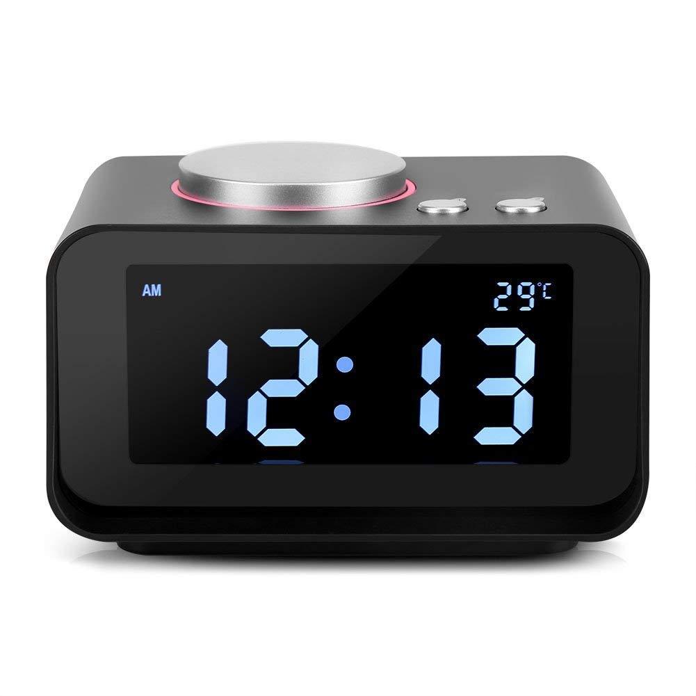 9c274d10c63325 Sveglia Digitale FM Allarme Moderna LED Backlight Display LCD Digitale  Sveglia Elettronica con Tempo Calendario Temperature Data Termometro Snooze  Nero