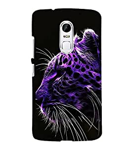 FUSON Purple Leopard Face Tiger 3D Hard Polycarbonate Designer Back Case Cover for Lenovo Vibe X3
