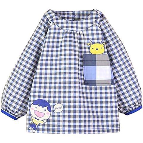 Happy Cherry Blusón Babero Babi Impermeable de Mangas Largas Protección de Ropa Infantil Delantal de Pintura Dibujo para Bebés Niños Niñas Varios Colores 3 Tallas a