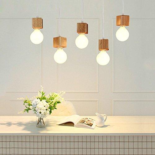 GBLY Pendelleuchte Holz Pendellampe Wohnzimmer Hängeleuchte E27 Hängelampe  Esstischlampe Holzlampe 5 Stücke