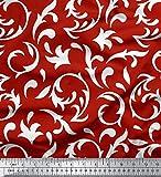 Soimoi Rot Baumwoll-Voile Stoff Filigran Damast Stoff