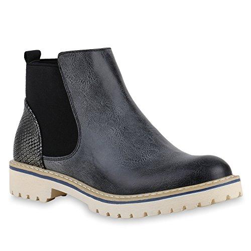 Damen Stiefeletten Chelsea Boots Prints Profilsohle Schuhe L Schwarz