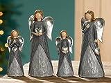 1 x Engel Herz grau/silber Höhe 12 cm, Angel, Weihnachten, Figur, Deko (rechts, Herz in Händen (Stückpreis))