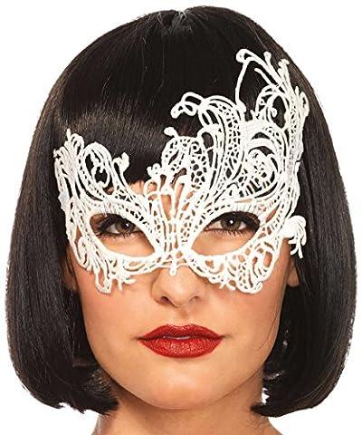 Leg Avenue 3747 - Fantasy Venezianischen Applikation Augenmaske - Einheitsgröße, weiß (Venedig Karneval Kostüme Uk)