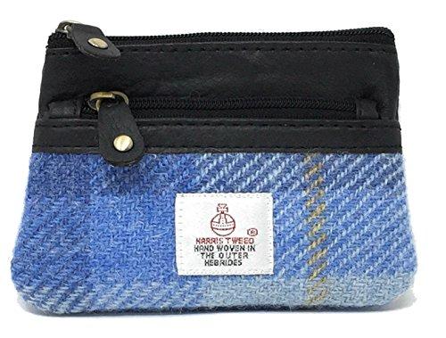 Harris Tweed und Leder 3 Zip Geldbörse - verschiedene Farben und Designs (Blau)