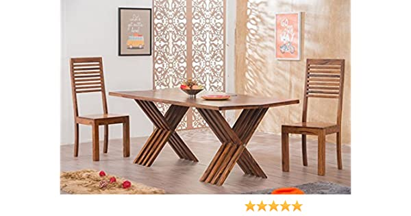 Mamta Decoration Solid Wood Leh Dining Table Set 6 Seater Table 6 Chairs