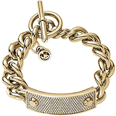 Michael Kors Pave Glitz Plaque Toggle Chain Link Gold-Tone Bracelet