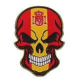 Homyl Parche Bordado Bandera Calavera Emblema Impreso para Sombreros Gorra Mochila Paquete Bolsa - Bandera de España