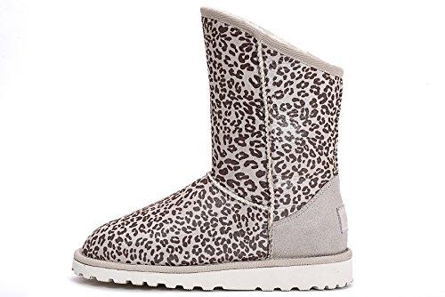 OZZEG féminines hiver bottes Leopard Pattern cuir bottes chaussures Blanc
