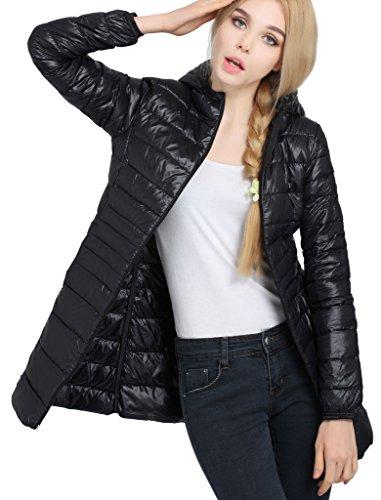 Hengjia Giubbino Donna Mi-longue Piumino A Cappuccio Invernale in calo di giacca nero FR L(Asiatico XXXL)