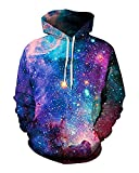 sankill Galaxy Hoodie Men Colourful HD 3D Printed Pullover Unisex Harajuku Long Sleeve Casual Sweatshirt Hooded (L/XL, Starry)