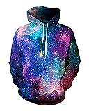 sankill Galaxy Hoodie Men Colourful HD 3D Printed Pullover Unisex Harajuku Long Sleeve Casual Sweatshirt Hooded (S/M, Starry)