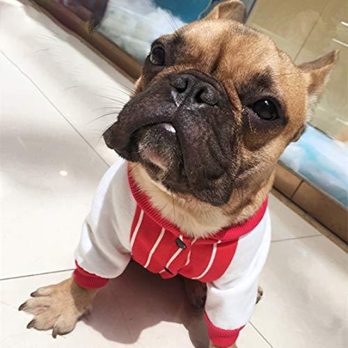 LouiseEvel215 Streifenmuster Französische Bulldogge Kleidung Warme Hunde Kleidung Vierbeiner Hoodie Hund Pullover Mäntel Baumwolle Welpen Kostüme