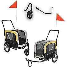 [pro.tec]® Rimorchio per bici per animali domestici - con ruota anteriore - Trasportino per cani, gatti - 107 x 56 x 97 cm - Grigio/Giallo/Nero