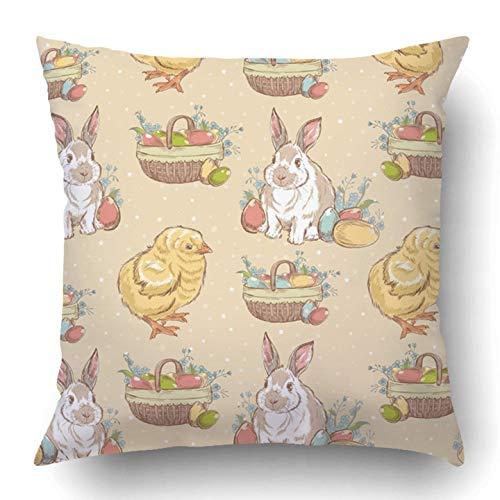 tianjianzulinyouxiangongsi Throw Pillow Covers Bunny Easter Vintage Chicken Rabbit Basket Full Eggs Orthodox Wicker Animal April Bird Polyester 18 X 18 Inch Square Hidden Zipper Decorative Pillowcase