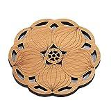 Garispace Glänzende Blume Form Teekanne Matte Untersetzer Matte Holz Runde Coaster Tischset Tischset Küchenzubehör Dekoration(Lotuswurzel)