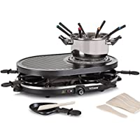 Vitinni Raclette 8 Person Party Grill & Griddle Set with Stone Hot Plate and Fondue Pot